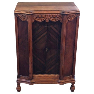 Antique Carved Wooden Cabinet / Bookcase For Sale