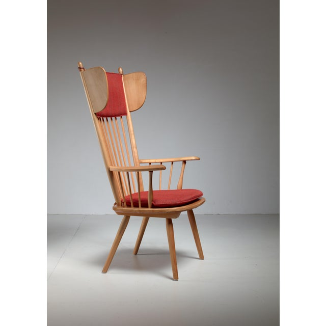Red Albert Haberer Wingback Armchair, Germany, Circa 1950 For Sale - Image 8 of 11