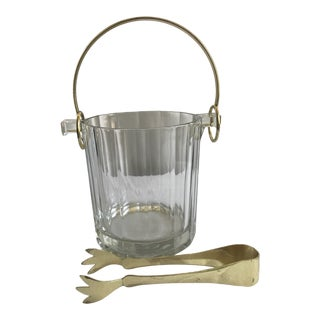 Vintage Italian Fluted Crystal Small Ice Bucket with Gold Handle and Tongs - a Pair For Sale