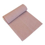 "Image of French Red & Ivory Striped Ticking Table Runner 110"" Long For Sale"