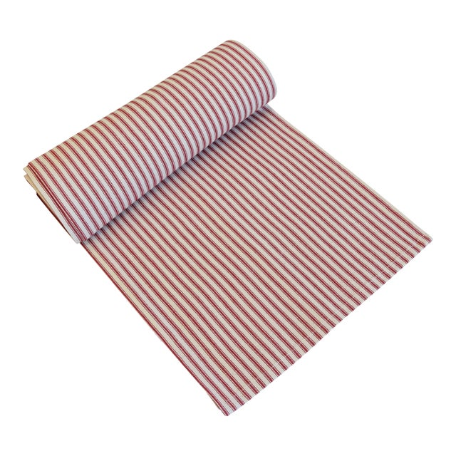 "French Red & Ivory Striped Ticking Table Runner 110"" Long For Sale"