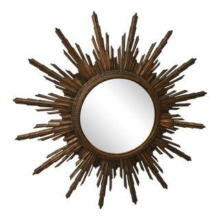 1930s Hollywood Regency Star Burst Mirror For Sale