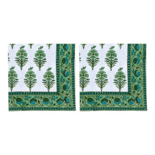 Juhi Flower Napkins, Green - A Pair For Sale