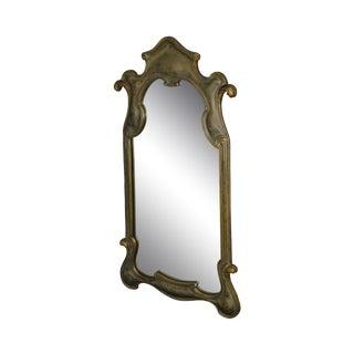Florentine 1950's Vintage Italian Silver Gilt Wood Wall Mirror For Sale