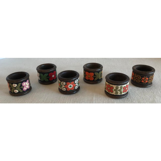 Boho Chic Vintage Wood & Woven Napkin Rings - Set of 6 For Sale - Image 3 of 7