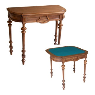 19th Century French Henri II Walnut Game Table ~ Console For Sale