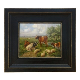 "Sheep and Cows Framed Oil Painting Reproduction Print on Canvas - 5"" X 6"" For Sale"
