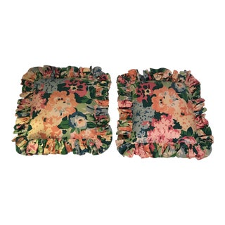 Ruffled Glazed Chintz Pillows - a Pair For Sale