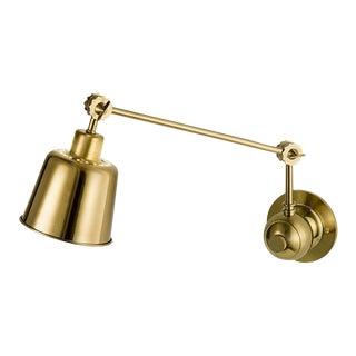 Broadway Brushed Brass Adjustable Wall Light For Sale