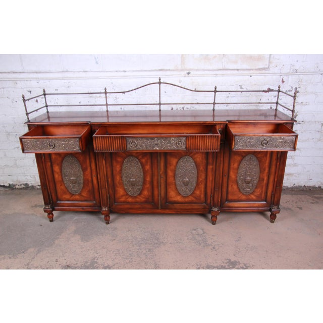 Theodore Alexander Theodore Alexander Regency Style Flame Mahogany Sideboard or Bar Cabinet For Sale - Image 4 of 13