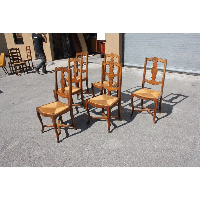1900s Early 20th C. Vintage French Country Rush Seat Walnut Dining Chairs- Set of 6 For Sale - Image 5 of 13