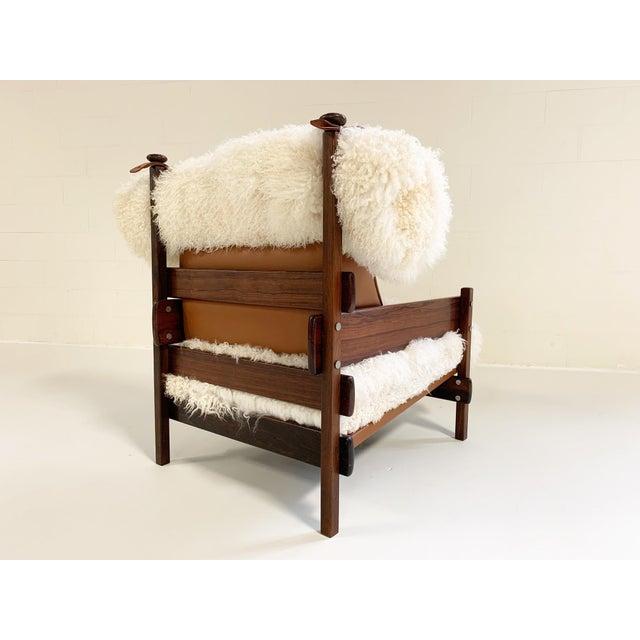 Italian Sergio Rodrigues for Oca Solid Jacaranda Tonico Chair Restored in Gotland Sheepskin and Loro Piana Italian Buffalo Leather For Sale - Image 3 of 13