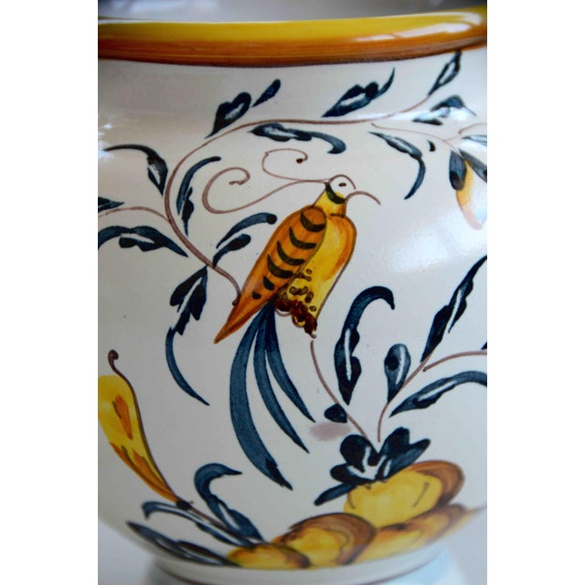 1980s Hand Painted Italian Ceramic Jar With Bird and Lemon Tree For Sale - Image 5 of 9