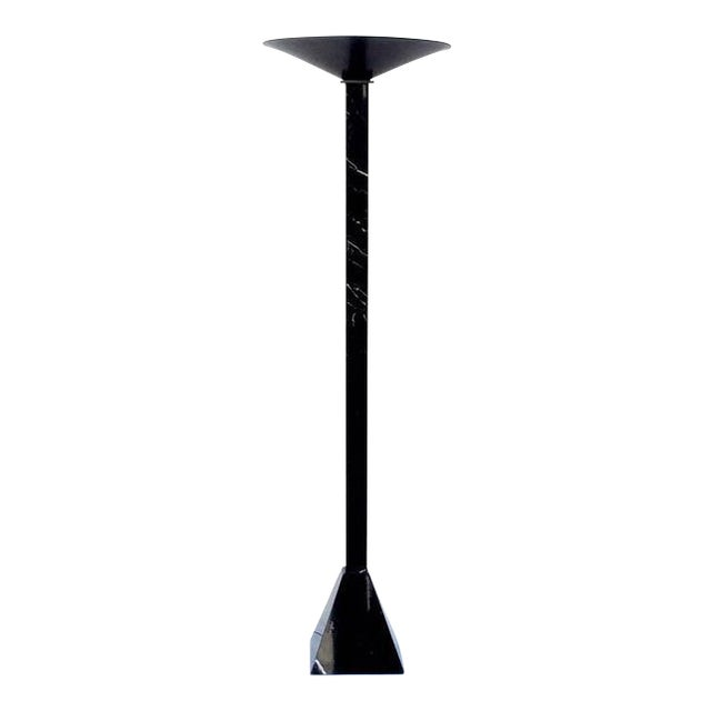 Beautiful black Italian marble torchiere floor lamp with a black perforated metal shade. Newly rewired.