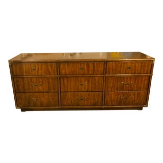 1970s Campaign Drexel Accolade 9 Drawer Dresser For Sale