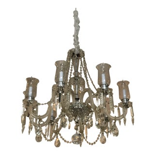 French Cut Glass 8 Arms Crystal and Chrome 8 Candle Light Chandelier With Etched Shades For Sale