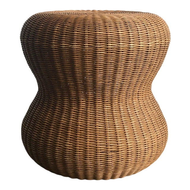 Late 20th Century Rattan Side Table For Sale