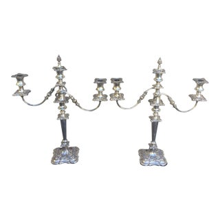 Early 20th Century Three Branches Silver Plate at Candelabra - a Pair For Sale