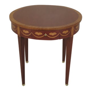 1990s Vintage Baker Federal Style Inlaid Mahogany Occasional Table For Sale