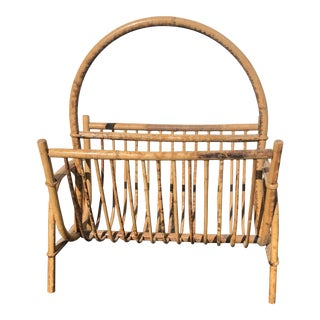 1970s Vintage Rattan Magazine Rack For Sale