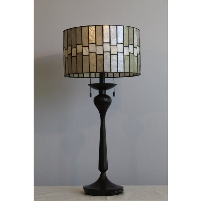Mid Century Enameled Bronze Base With Geometric Art Deco Mica Shade For Sale - Image 4 of 8