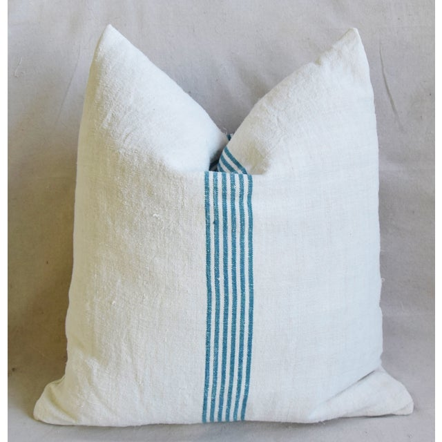 """Early 21st Century Aqua Striped French Homespun Grain Sack Textile Feather/Down Pillows 21"""" Square - Pair For Sale - Image 5 of 13"""