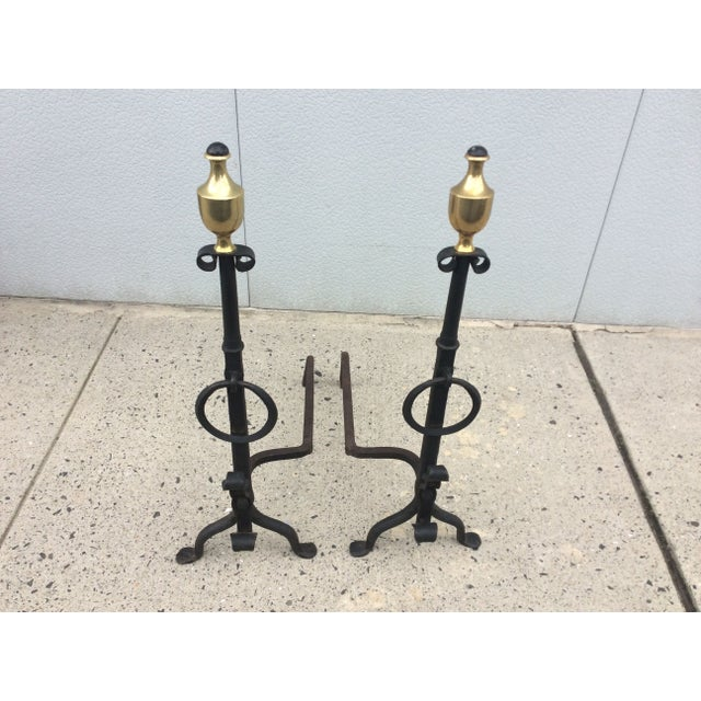 1800s Brass & Iron Andirons - A Pair - Image 3 of 8