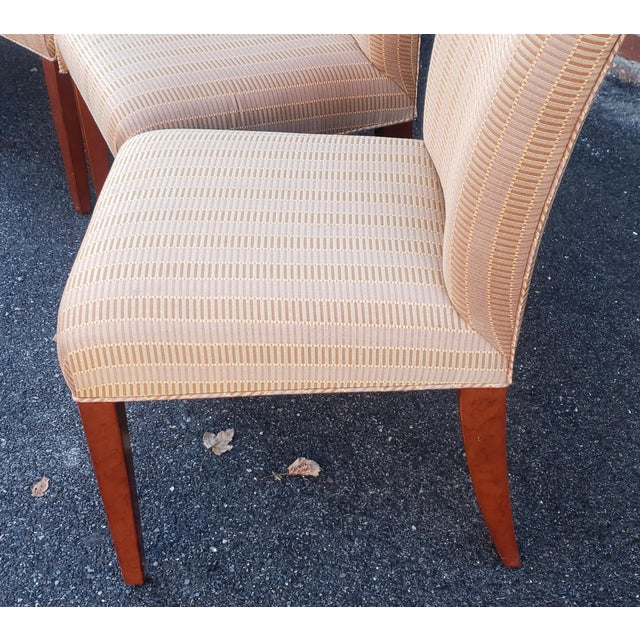 2000 - 2009 Set 6 Swaim Upholstered Parsons Style Dining Room Side Chairs #F-C219 W/ Larsen Baby Grand Pattern Fabric For Sale - Image 5 of 13