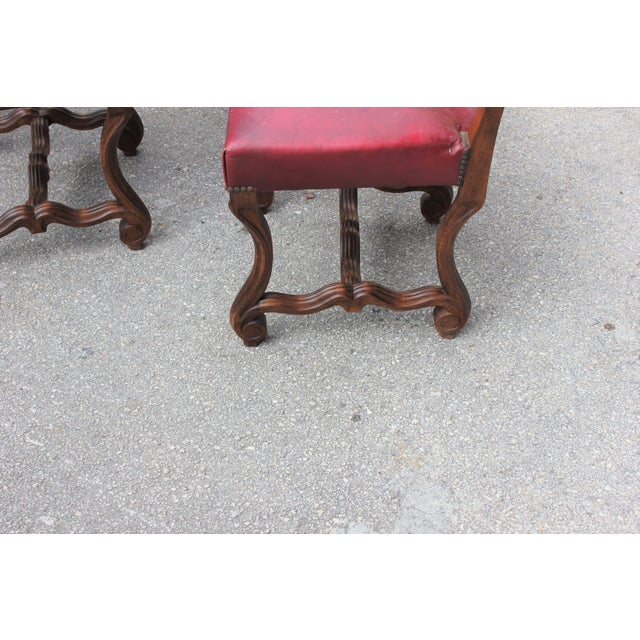 Red French Louis XIII Style Os De Mouton Dining Chairs - Set of 6 For Sale - Image 8 of 13