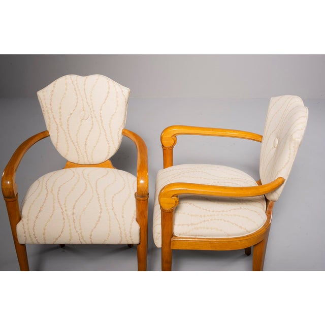 Pair French Bridge Chairs With Beech Frames and New Upholstery For Sale In Detroit - Image 6 of 10
