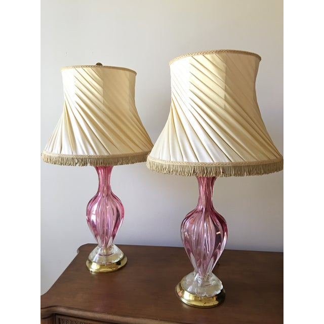 Mid-Century Baovier E. Toro Murano Glass Lamps - A Pair - Image 2 of 11
