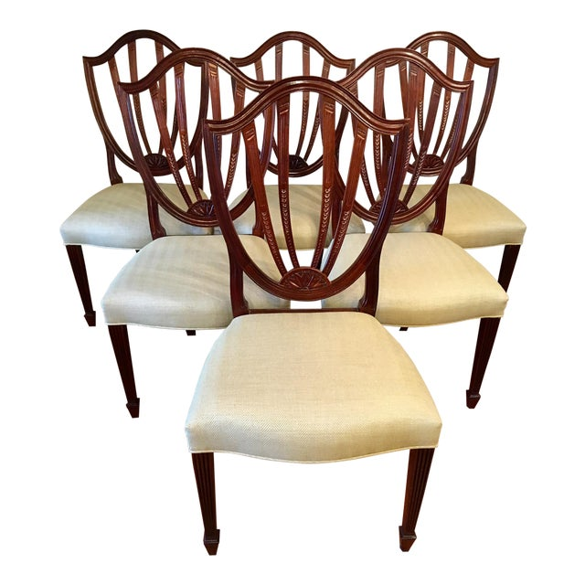 Baker Shield Back Mahogany Dining Chairs - Set of 6 For Sale