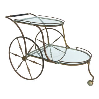 Brass Two-Tiered Bar/Tea Cart With Large Wheels For Sale