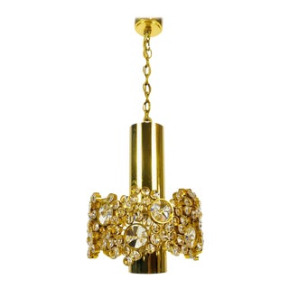 Gilt Brass and Crystal Glass Chandelier by Palwa, Germany, 1970s For Sale