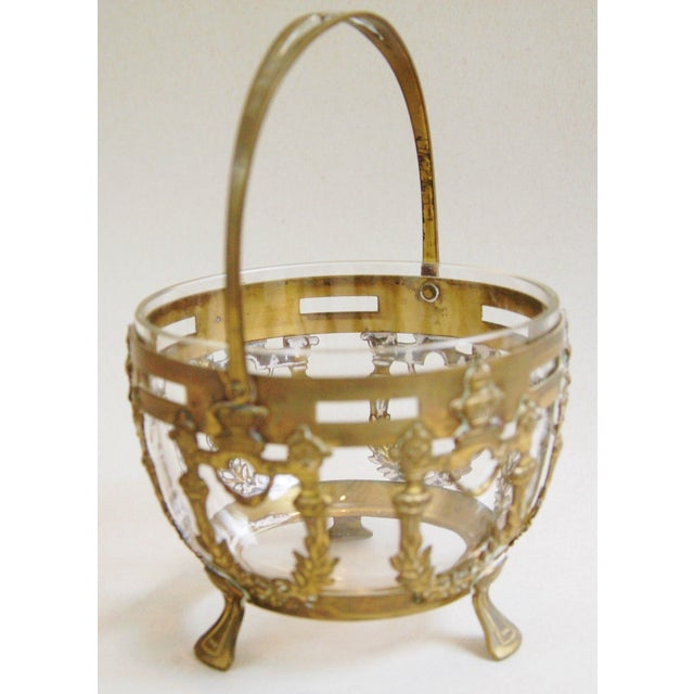 Antique Brass Filigree & Crystal Basket - Image 7 of 10