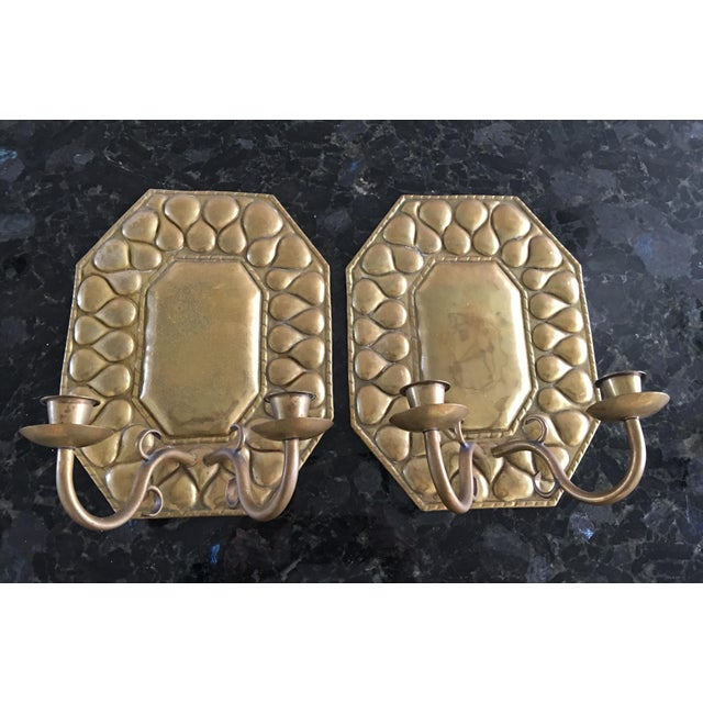 Arts & Crafts Antique Continental Brass Repousse Wall Candle Sconces - a Pair For Sale - Image 3 of 13