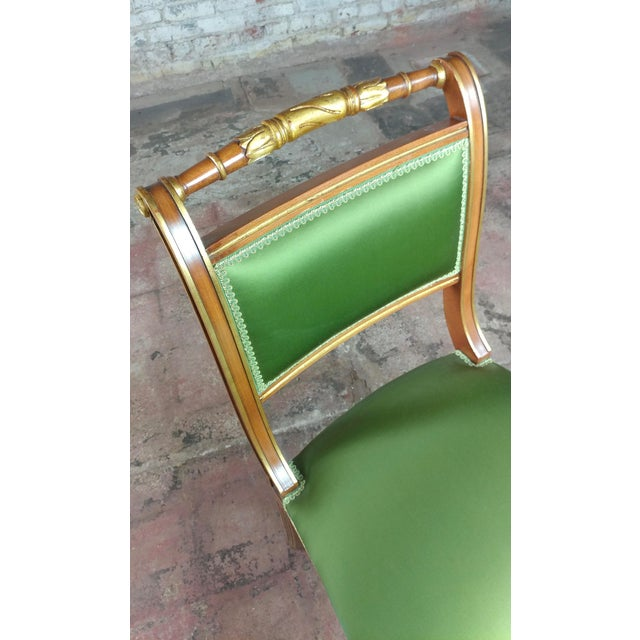 English Regency Parcel Gilt W/Satin Green Upholstery Dining Chairs -Set of 10 - Image 7 of 8
