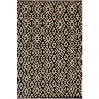 Modern Bauhaus Tribal Sims Hand-Woven Kilim Wool Rug - 5′2″ × 6′6″ For Sale