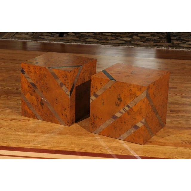 Hollywood Regency Restored Pair of Olivewood and Nickel Cubes For Sale - Image 3 of 11