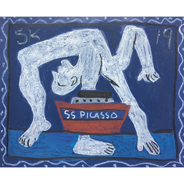 'Ss Picasso' Oil Pastel Drawing by Sean Kratzert For Sale