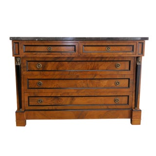 Decorative Crafts Italian Walnut Patchwork Empire Chest With Marble Top For Sale