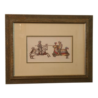 Jousting Knights Framed Ink Watercolor Giclee Print