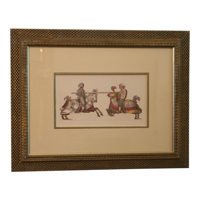 Jousting Knights Framed Ink Watercolor Giclee Print For Sale