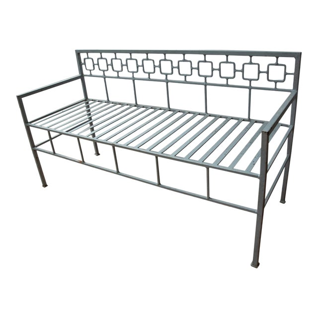 1940s Hollywood Regency Style Iron Settee For Sale