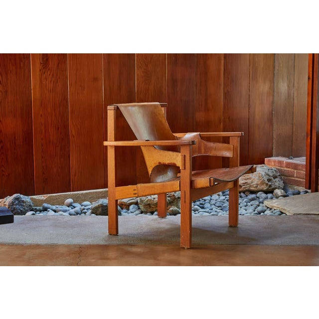 "Mid-Century Modern 1950s Carl Axel Acking ""Trienna"" Chair in Patinated Brown Leather For Sale - Image 3 of 13"