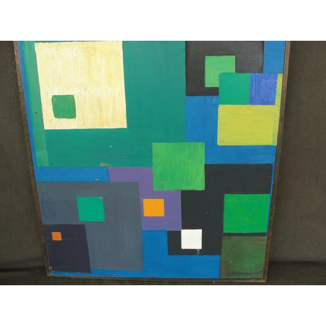 Geometric Abstract Oil on Masonite - Image 4 of 6