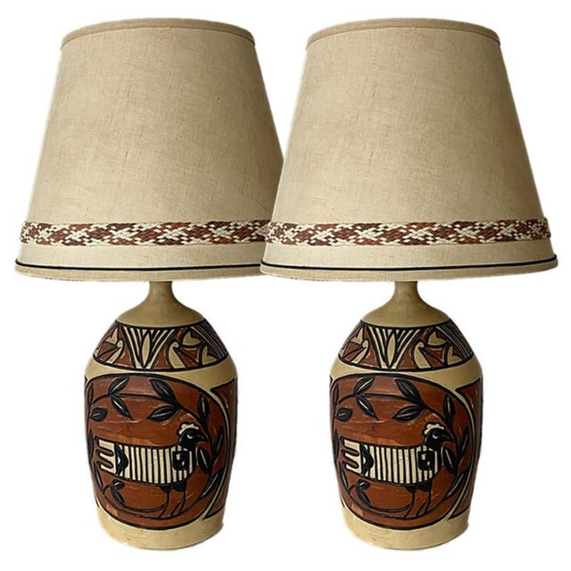 Ceramic Aztec /Southwestern Pablo Picasso Style Ceramic Table Lamps - a Pair For Sale - Image 7 of 12