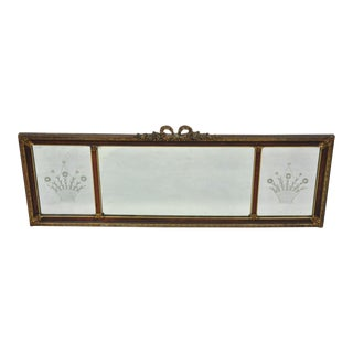 "Antique Art Deco 50"" Triptych Mirror Triple Panel Overmantle Wall Mirror For Sale"