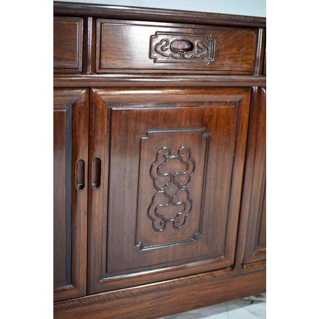 Brown Vintage Rosewood Effect Chinoiserie Credenza Server Cabinet For Sale - Image 8 of 13