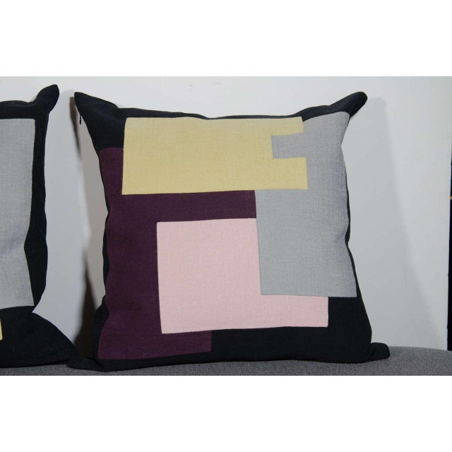Abstract Architectural Italian Linen Throw Pillows by Arguello Casa For Sale - Image 3 of 9